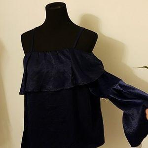 Navy blue long sleeve flow cuff split cami strap